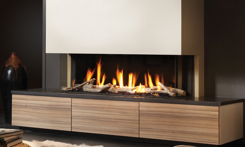 DRU Metro 130XT 3 Sided Eco Wave Gas Fire