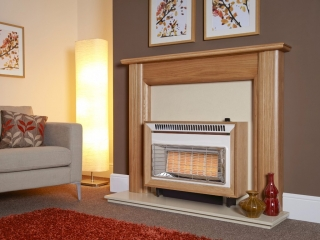 Flavel Misermatic in Teak Gas Fire