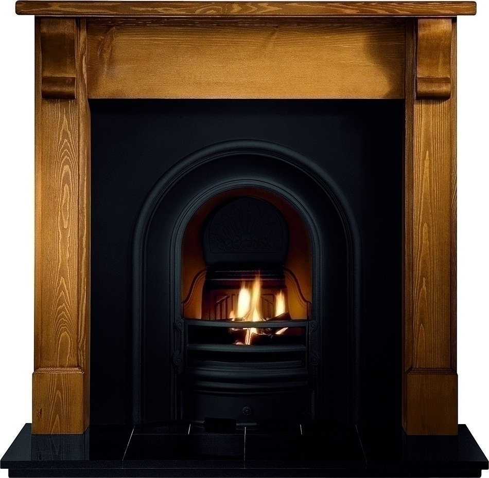 Crown Arch Cast Iron Insert with Solid-Fuel Fire