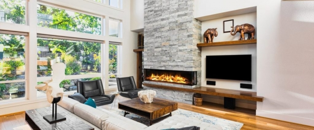 Evonic e1800 Glass Fronted 3 Sided Electric Fire