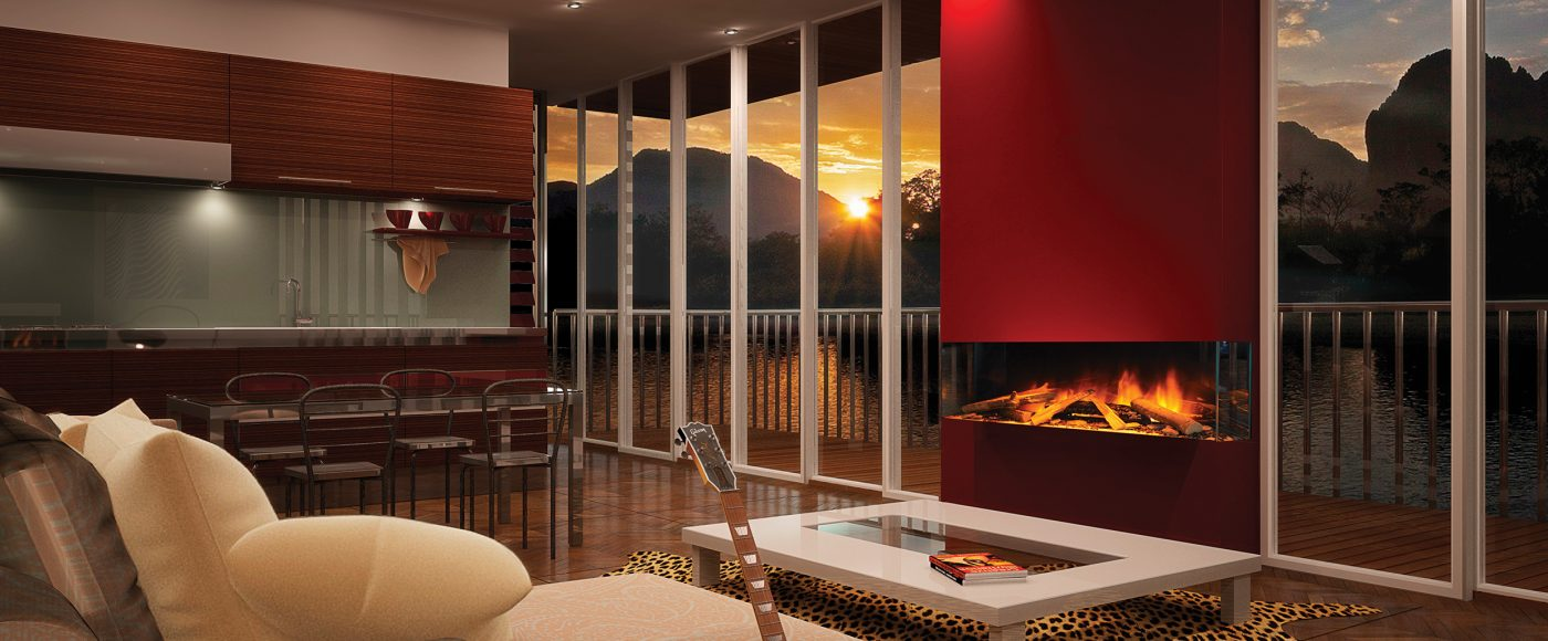 Evonic e1030 Glass Fronted 3 Sided Electric Fire