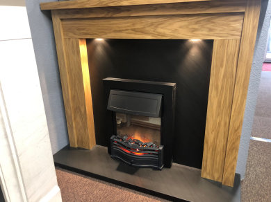 Wooden surround, Ocean Slate set and Electric fire